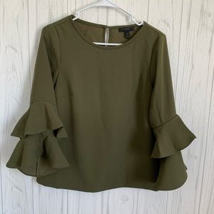 J.Crew Olive Green Lana Tiered Bell Sleeve Top
